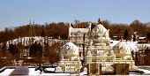 stock photo of granth  - View of pittsburgh balaji temple on a bright sunny day - JPG