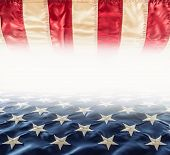 American Flag. Usa Flag. Abstract Perspective Background Of Stripes And Strars With American Symbol poster