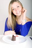 Young Happy Woman With Cake