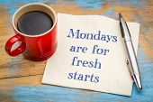 Mondays are for fresh starts - motivational handwriting on a napkin with a cup of coffee poster