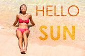 Graphic design inspirational quote creative concept with the words HELLO SUN! written on water backg poster