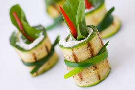 stock photo of gourmet food  - Gourmet and healthy fresh organic zucchini appetizer  - JPG