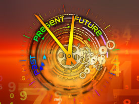 image of past future  - Interplay of elements of a clock and abstract elements on the subject of time progress past present and future of technology - JPG