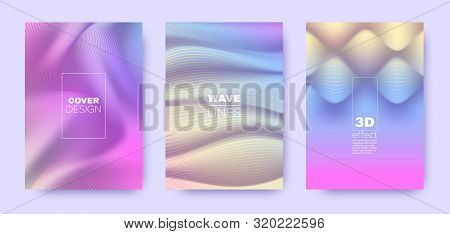 poster of Multicolor Poster. Colorful 3d Lines Shape. Abstract Vibrant Wallpaper. Colorful Gradient Background