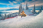 The Best Popular Winter Ski Resort With Skiers In Romania. Amazing Touristic And Winter Holiday Dest poster