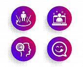 Writer, Best Manager And Augmented Reality Icons Simple Set. Halftone Dots Button. Yummy Smile Sign. poster