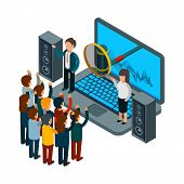 People Sing. Choir Recording Song. Vector Isometric Music Concept. Illustration Record Song To Radio poster