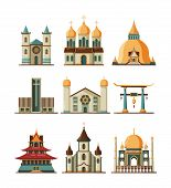 Traditional Church. Christian And Lutheran Religion Buildings Muslim Islamic Mosque Vector Flat Pict poster