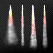 Rocket Smoke. Realistic Effect Of Speed Flying Launch Space Ship Smoke And Fire Vector Collection. I poster