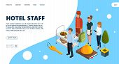 Hotel Staff Landing Page. Vector Isometric Hospitality Concept. Illustration Hotel Service, Staff Ma poster