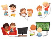 Video Games Kids. Console Gaming Children Playing Together With Joystick Controllers Home Television poster