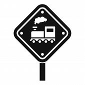 Railway Road Sign Icon. Simple Illustration Of Railway Road Sign Vector Icon For Web Design Isolated poster