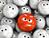 stock photo of angry smiley  - Angry emoticon face among other grey - JPG