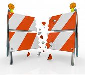 A roadblock barrier or barricade is split as you break through to freedom, overcoming an obstacle st