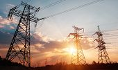 High-voltage Power Lines. Electricity Distribution Station. High Voltage Electric Transmission Tower poster