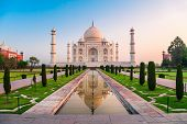 Taj Mahal Is A White Marble Mausoleum On The Bank Of The Yamuna River In Agra City, Uttar Pradesh St poster