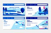 Transportation Vector Banners. Ferry Terminal, Air Flight, Taxi, Railway Station Landing Page Collec poster