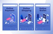 Online Payments Landing Page. Mobile Bank App Vector Banners Template. Online Wallet And Shopping, P poster