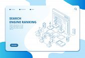 Search Engine Ranking Landing Page. Seo Marketing And Analytics, Online Ranking Result. Internet Str poster