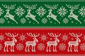 Christmas Knitting Pattern With Reindeer And Elk. Scheme For Wool Knit Winter Holiday Sweater Seamle poster