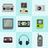 Vintage 90s Technology Multimedia Devices Vector Pattern In Squares. Flat Illustration Of Old Retro  poster