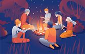 Cartoon People Sit Bonfire At Summer Night Vector Illustration. Man Woman Friend Together Tell Scary poster