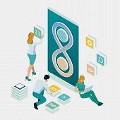 Isometric Technology Process Of Software Development. Web Development And Coding. Cross Platform Dev poster