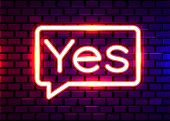 Yes Neon Text. Yes Neon Sign, Design Template, Modern Trend Design, Night Neon Signboard, Night Brig poster