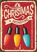 Christmas Decorations Store Vintage Metal Sign With Colorful Lights On Red Background. Retro Holiday poster