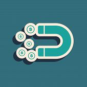 Green Magnet With Money Icon Isolated On Blue Background. Concept Of Attracting Investments, Money.  poster