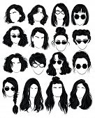 Set Of Hairstyles For Women. Collection Of Black Silhouettes Of Hairstyles For Girls. Woman Portrate poster
