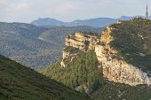 Sandstone Cliffs And Green Forest Of Cap Canaille, Falaises Soubeyranes, Southern France poster