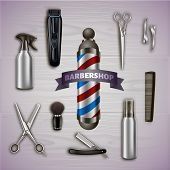Logo Barbershop And Metal Tools On Gray Background. Barber Tool Kit. Hair Styling Product. Logo On B poster