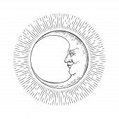 Vector Image Of A Crescent Moon. Moon Face. poster