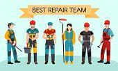 Best Repair Team Concept Banner. Flat Illustration Of Best Repair Team Vector Concept Banner For Web poster