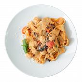Pasta Pappardelle With Chicken Meatballs