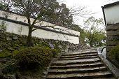 Escadaria e muros do Castelo de Okayama, Japão