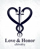 Dagger And Two Snakes In A Shape Of Heart Vector Vintage Style Emblem Or Logo, Chivalry Love And Hon poster