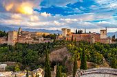 Walls And Towers Of The Fortress Of The Alhambra At Sunset In Granada. Andalusia. Spain. poster