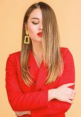 Pretty Woman Makeup Face Red Lips. Woman Wear Glamorous Earrings. Hairstyle And Hairdresser. Ombre H poster