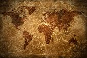 Aged  Vintage World Map Texture And Background poster