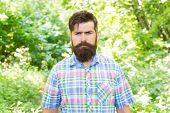 Brutal Style Trends. Bearded Man With Brutal Look On Natural Landscape. Caucasian Guy With Long Brut poster