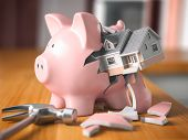 Saving to buy a house. Piggy bank and house. Home savings concept. 3d illustration poster