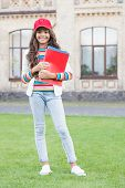 Kid School Student Hold Textbooks For Studying. School Education. Modern Education. Achieving Skills poster