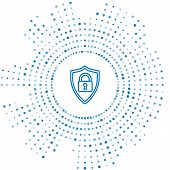 Blue Line Shield Security With Lock Icon Isolated On White Background. Protection, Safety, Password  poster