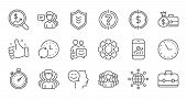 Business Line Icons. Group Of People, Portfolio And Teamwork Icons. User Profile Linear Icon Set. Qu poster