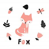 Cute Fox In Scandinavian Style. Set With Cute Fox And Various Forest Plants. poster