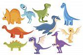 Dinosaur Set. Collection Of Cartoon Dinosaurs. Vector Illustration Of Prehistoric Animals For Childr poster