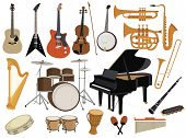 Set Of Musical Instruments. Collection Of Cartoon Elements For The Concert. Vector Illustration Of K poster