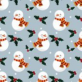 Christmas Holiday Season Seamless Pattern Of Snowman, Holly Berries And Star For Greeting Cards, Wra poster